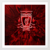 liverpool Art Prints featuring LIVERPOOL LOVER by Acus