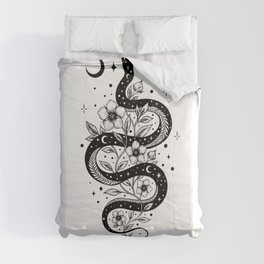 Serpent Spell -Black and White Comforters