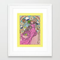 mucha Framed Art Prints featuring Mucha Bubblegum by Joyia Kelly
