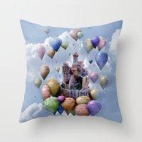 castle Throw Pillows featuring Sweet Castle by teddynash