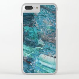 Siena turchese - blue marble Clear iPhone Case
