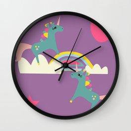 unicorn and rainbow purple Wall Clock