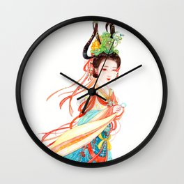 Watercolor Chinese Beauty -  Dunhuang Wall Clock