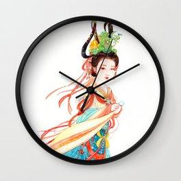 Watercolor Chinese Beauty -  Dunhuang Wall Clock