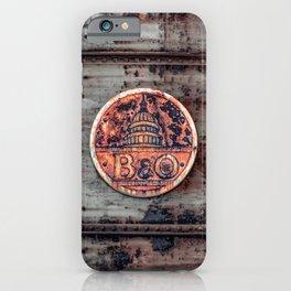 Rusted B&O Emblem Baltimore and Ohio Railroad Train Bridge Insignia Rust iPhone Case