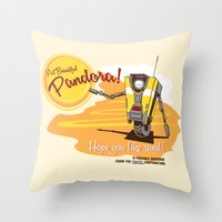 borderlands Throw Pillows featuring Visit Pandora! by Andy Hunt