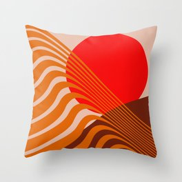Beyond The Fog - Red & Brown Throw Pillow