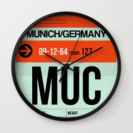 MUC Munich Luggage Tag 2 Wall Clock