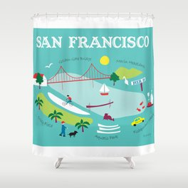 San Francisco, California - Collage Illustration by Loose Petals Shower Curtain