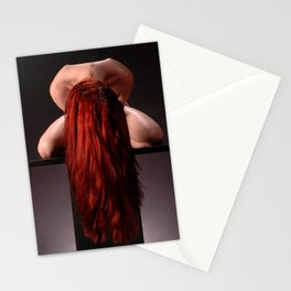 0788-MAK Submissive Redhead Woman Kneeling On Pedestal Long Red Hair Stationery Cards