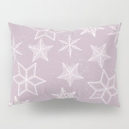 Snowflakes on pink background Pillow Sham