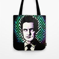 dale cooper Tote Bags featuring Black Lodge Dale Cooper by Kate Davis