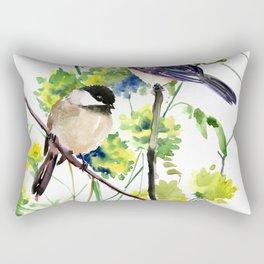 chickadees and Spring Blossom Rectangular Pillow