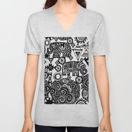 Beautiful boho pattern Indian Elephant with ornamental. Hand drawn ethnic tribal decorated Elephant Unisex V-Neck