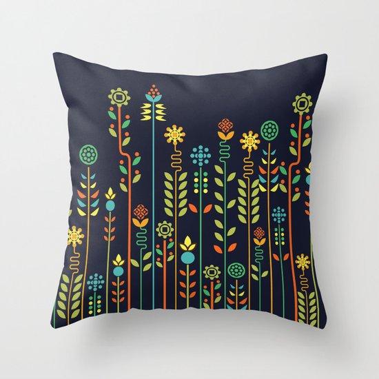 Overgrown flowers Throw Pillow