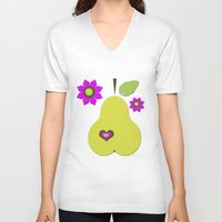 pear V-neck T-shirts featuring pear by snorkdesign