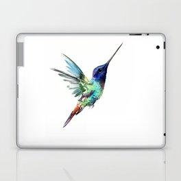 Flying Hummingbird flying bird, turquoise blue elegant bird minimalist design Laptop & iPad Skin