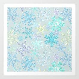 icy snowflakes Art Print