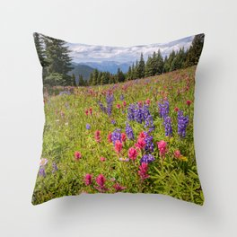 Colorado Summer Wildflowers Vail Shrine Ridge Rocky Mountain Landscape Throw Pillow