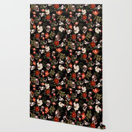 Floral and Skull Dark Pattern Wallpaper