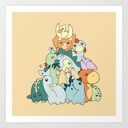 Cute Dino Pattern Art Print