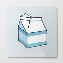 Milk Carton Light Blue Metal Print