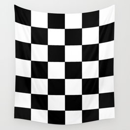 Black and White Checkers Wall Tapestry