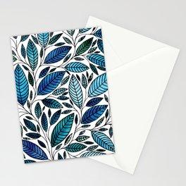 Blue Leaves / leaf Illustration (P07 063) Stationery Cards