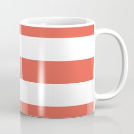 Fire opal - solid color - white stripes pattern Coffee Mug