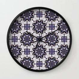 Plum Black and White Mosaic Pattern Wall Clock