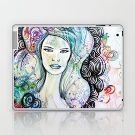 doodle girl Laptop & iPad Skin