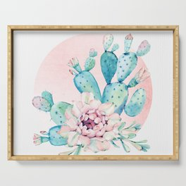 Desert Cactus Flower with Rose Gold Sun Serving Tray