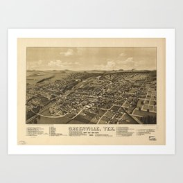Aerial View of Greenville, Texas (1886) Art Print