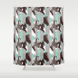 Waiting for the horse race // mint background Shower Curtain