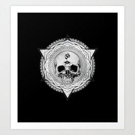 Life Touches The Seeker Ajna Skull Mandala Geometric Triangle Black Art Print