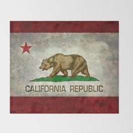 California Republic state flag Vintage Throw Blanket