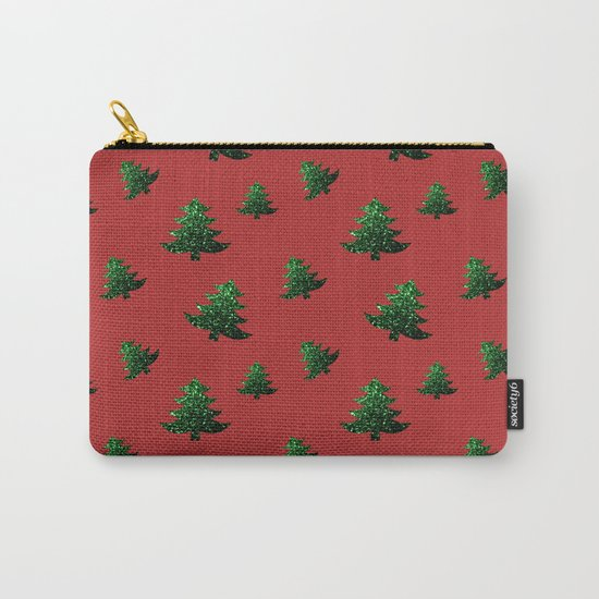 Christmas tree green sparkles pattern on Red Carry-All Pouch