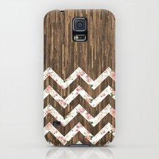 Vintage Preppy Floral Chevron Pattern Brown Wood Slim Case Galaxy S5