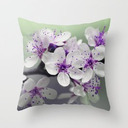 Modern blossom white violet green ombre floral Throw Pillow