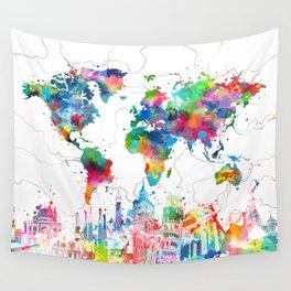 world map watercolor collage Wall Tapestry