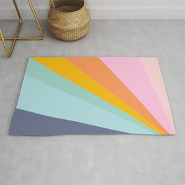 Colorful Retro Abstract Geometric Diagonal Stripes  Rug