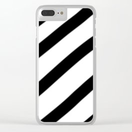 Soft Diagonal Black and White Stripes Clear iPhone Case