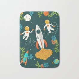 Race to the Moon with Flower Power Bath Mat