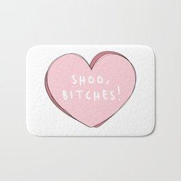 Shoo,Bitches! Cute Pink Heart Graphic Bath Mat