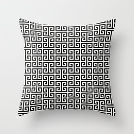 Black and White Greek Key Pattern Throw Pillow