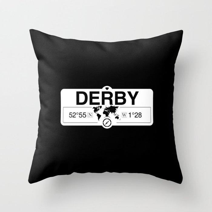 Derby England GPS Coordinates Map Artwork with Compass Throw Pillow