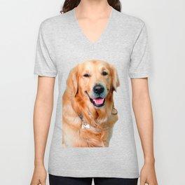 Beautiful Dog Golden Retriever and Your Bone Unisex V-Neck