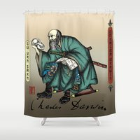 darwin Shower Curtains featuring Samurai Charles Darwin by QStar