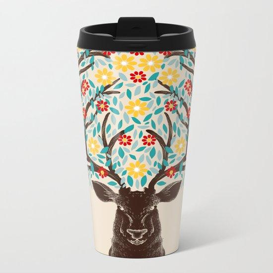 Blooming Deer Spring Metal Travel Mug