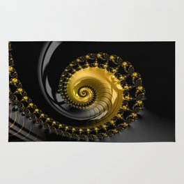 Fractal Shell Black Gold Rug